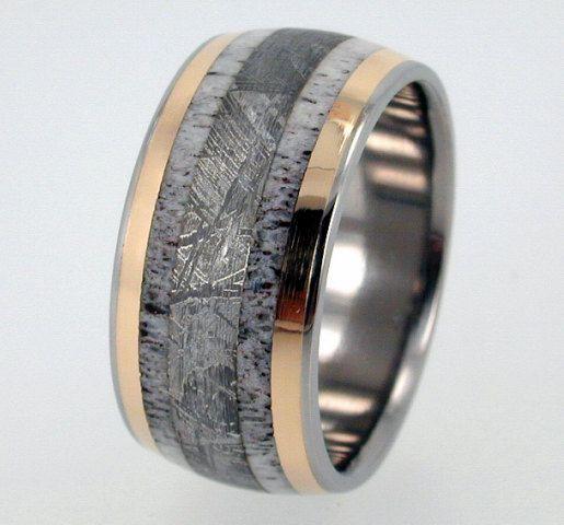 Deer Antler Meteorite And 18K Yellow Gold Inlay Titanium Wedding