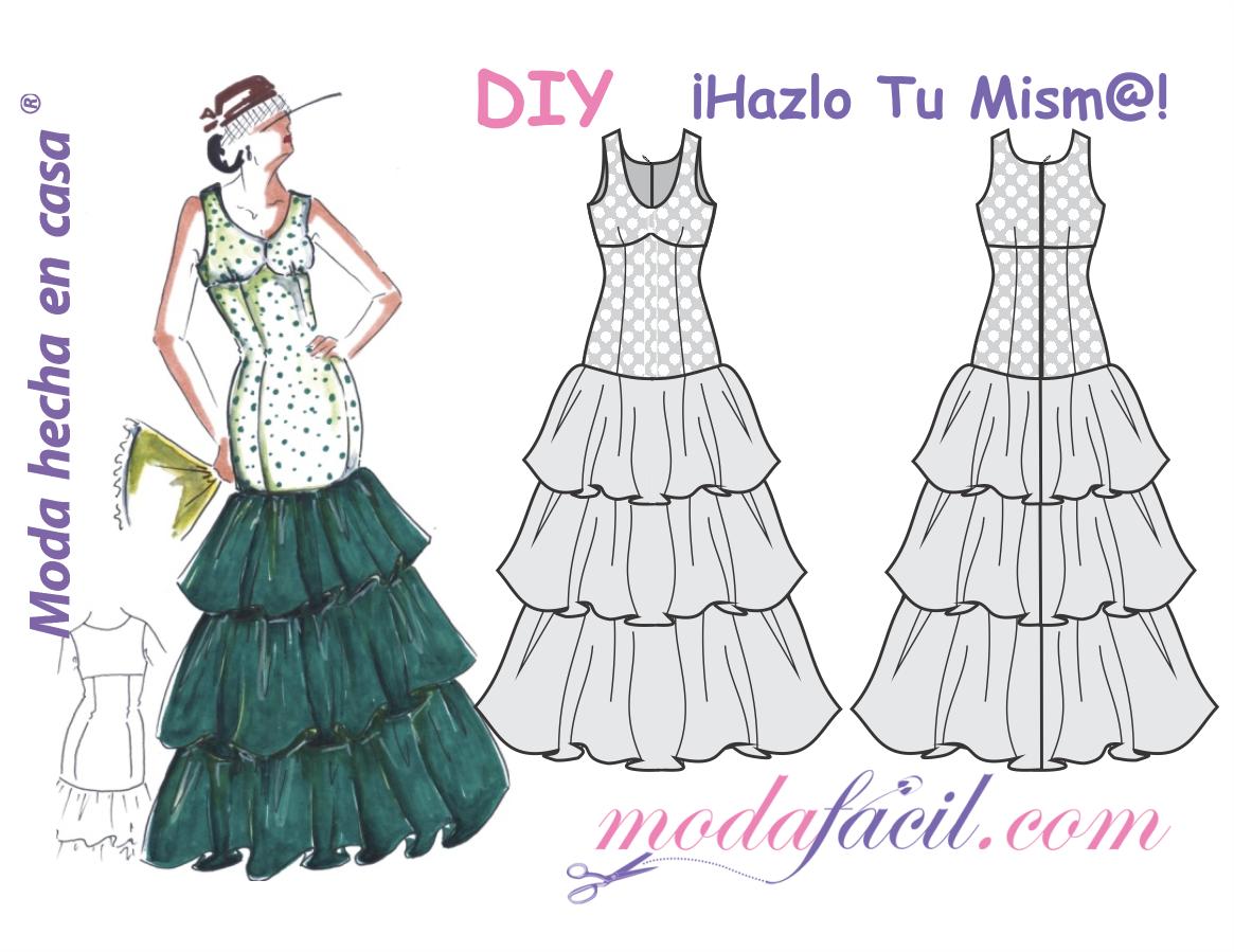 Descarga gratis los patrones del Vestido de Fiesta Flamenco Ambar ...