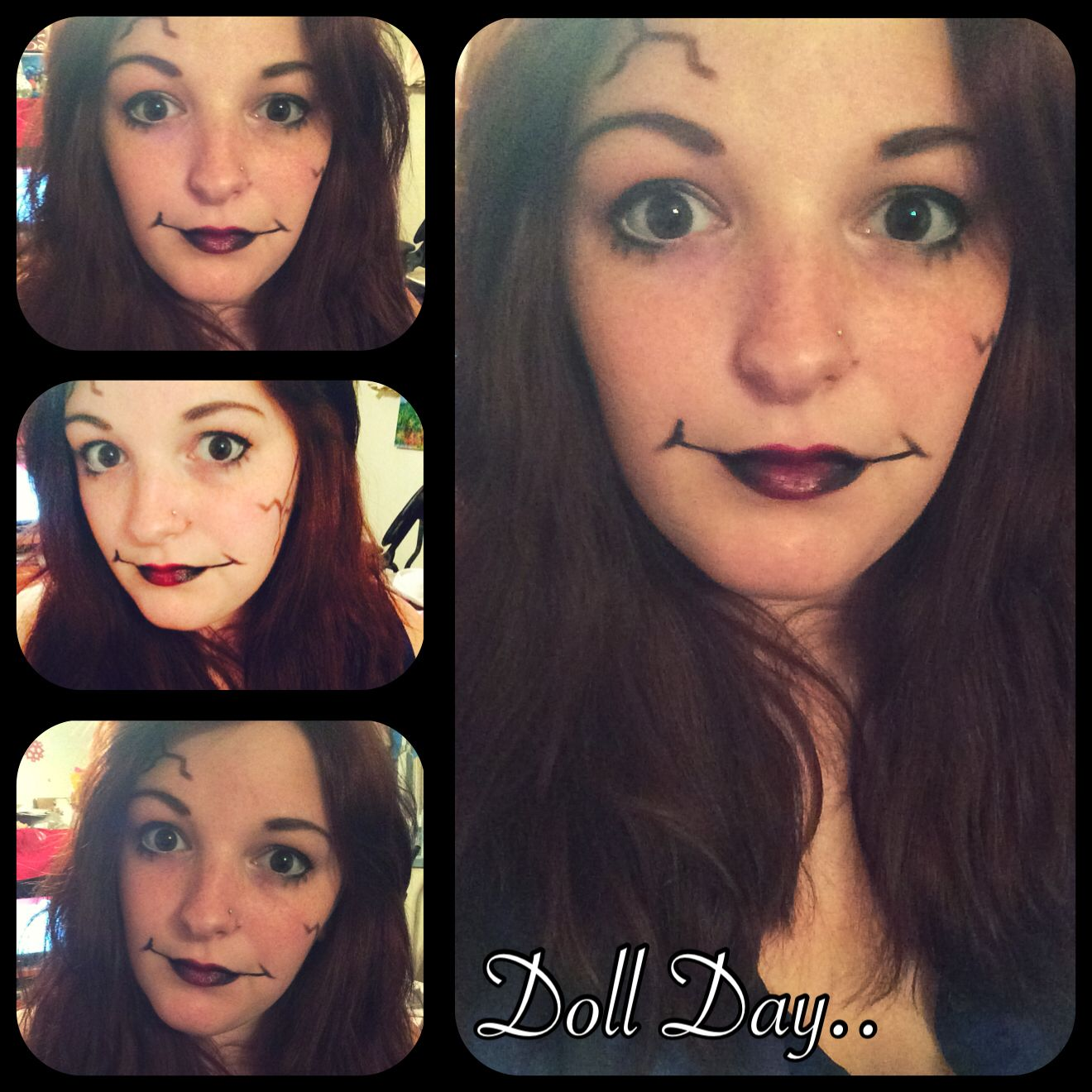 Doll makeup. At home easy makeup made with eyeliner