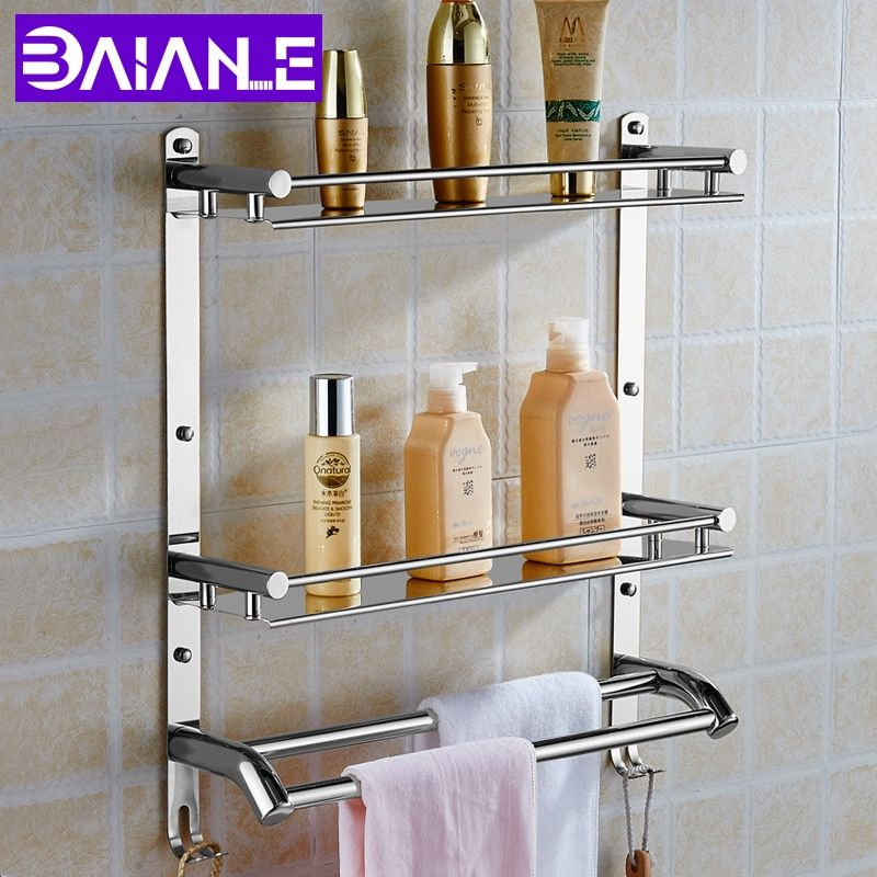 Wall Mount Stainless Steel 2 Layers Storage Basket Shower Room Bathroom Towel Rack Soap Dish Shampoo Rack Stainless Steel Bathroom Bathroom Shelves Towel Rack
