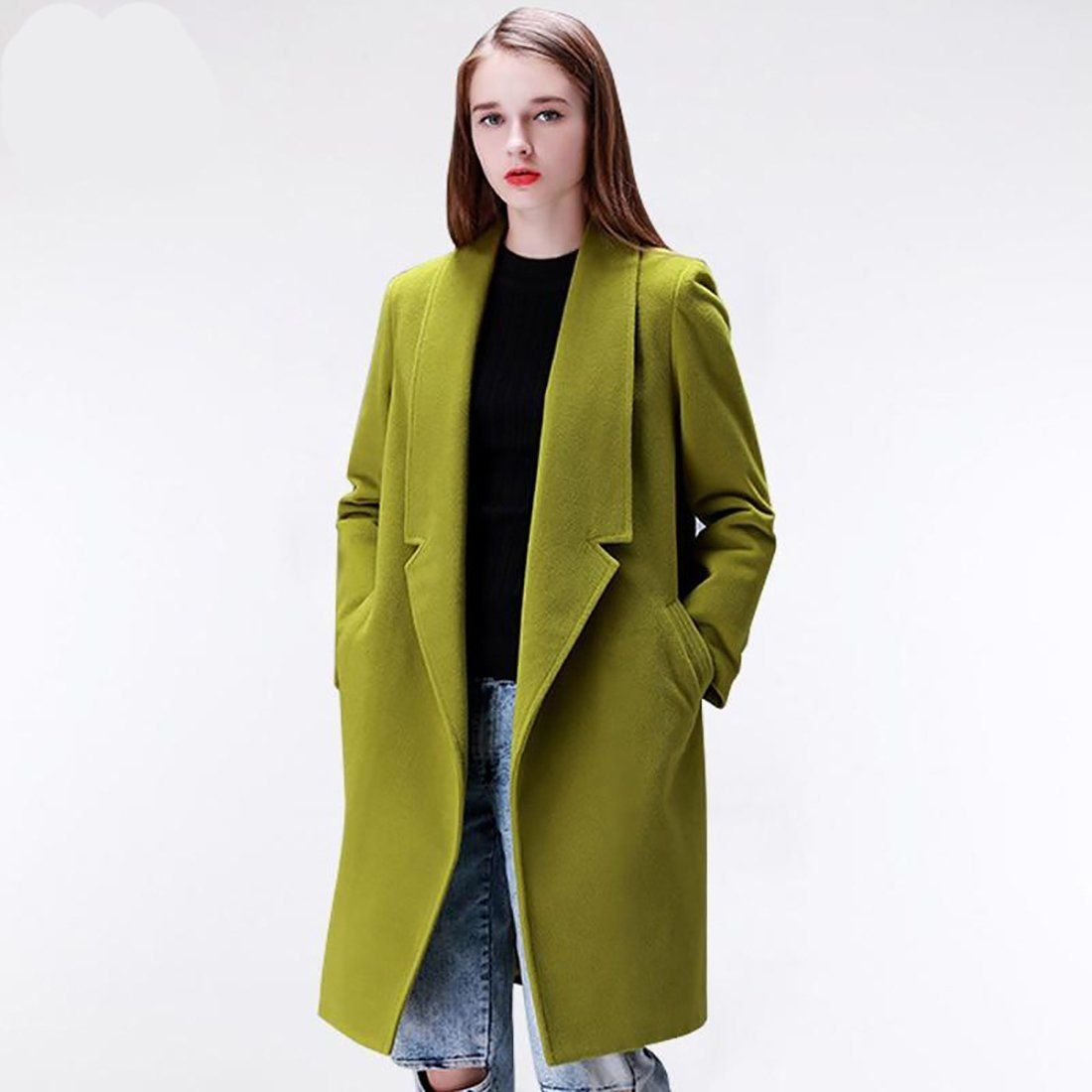 11add252b Women's Coat Warm Cotton Padded Wool Long Cashmere Outwear European ...