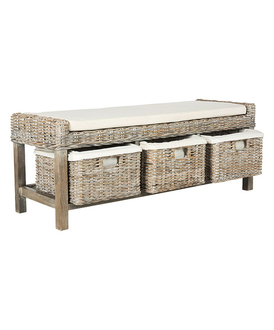 Love this white wood tamsin storage bench by safavieh on zulily