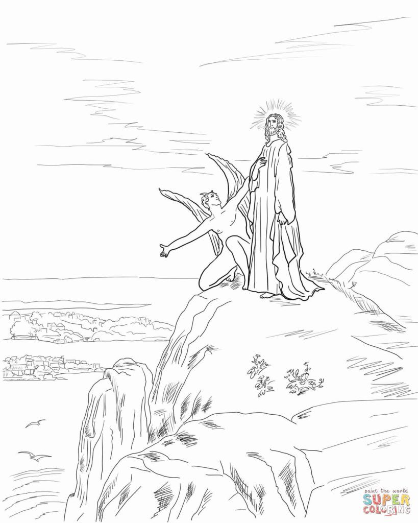 temptation of jesus coloring pages for kids | Jesus Temptation Coloring Page | Free Printable Coloring ...