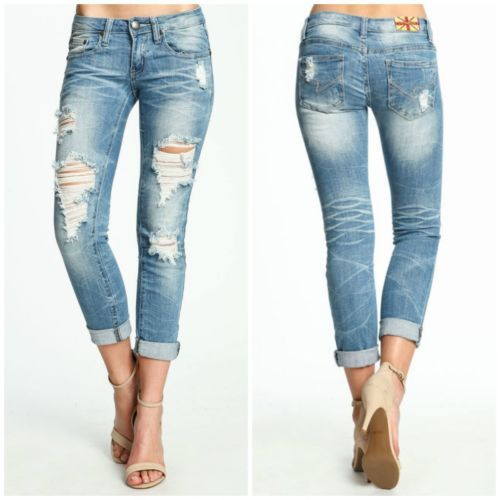 Womens Ladies Ankle Ripped Destroyed Distress Skinny Fit Trousers Denim Jeans