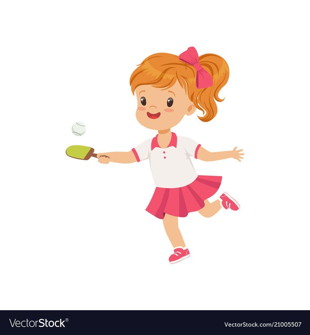 Cute Little Girl Playing Table Tennis Kids Vector Image On Vectorstock Kids Vector Kids Tennis Cute Little Girls