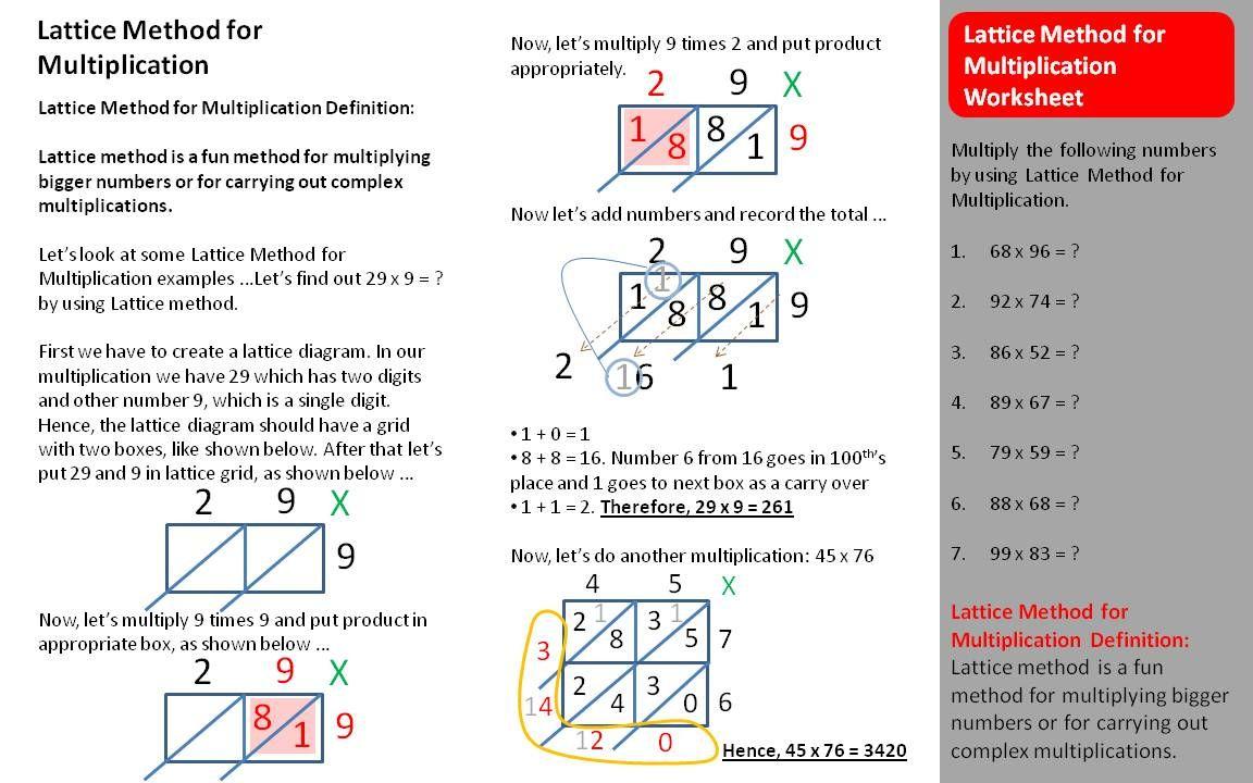Lattice Multiplication Worksheets Multiplication Tutorial