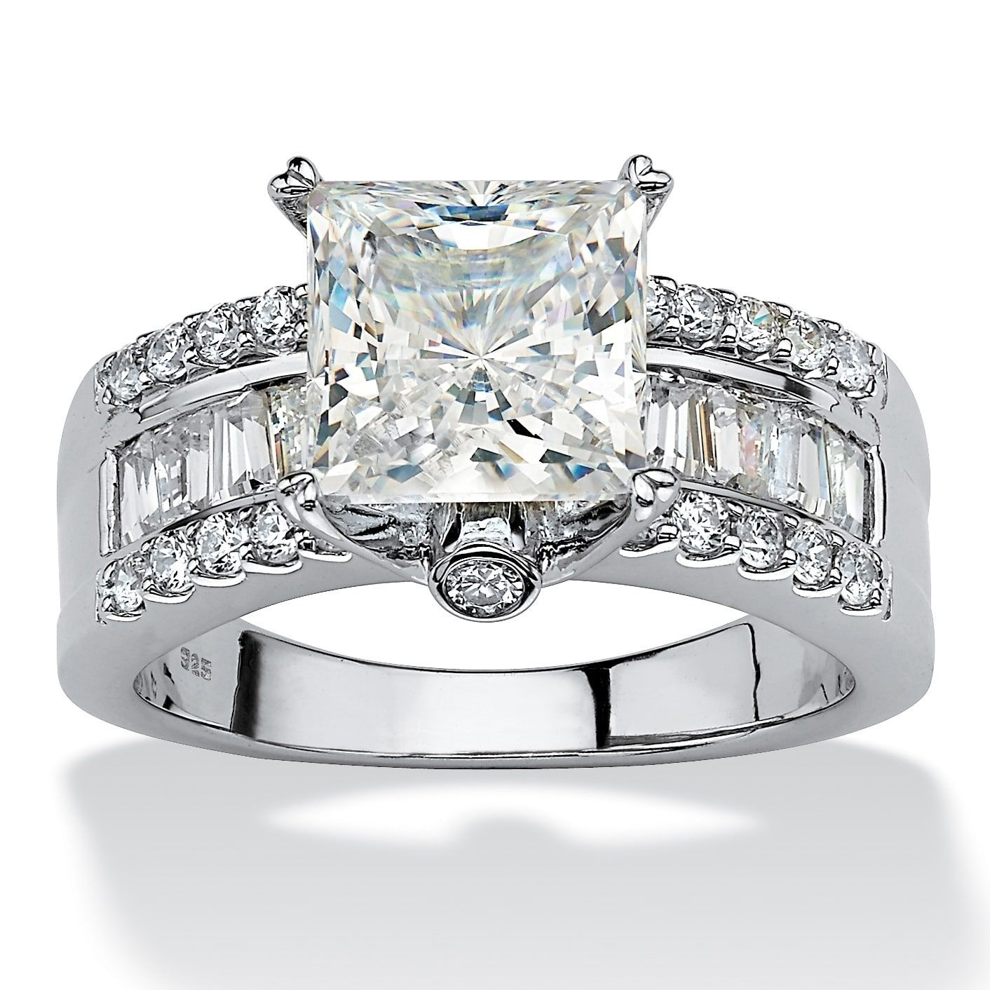 Platinum over Sterling Silver Cubic Zirconia Engagement