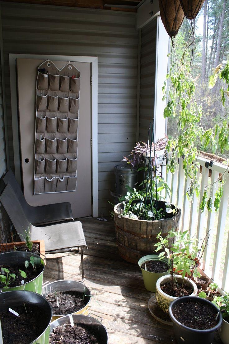 balcony garden using an over-the-door shoe file for ...