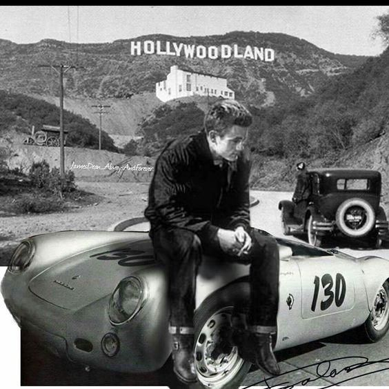 james dean the giant sitting on his porsche in front of hollywood sign james dean pinterest. Black Bedroom Furniture Sets. Home Design Ideas