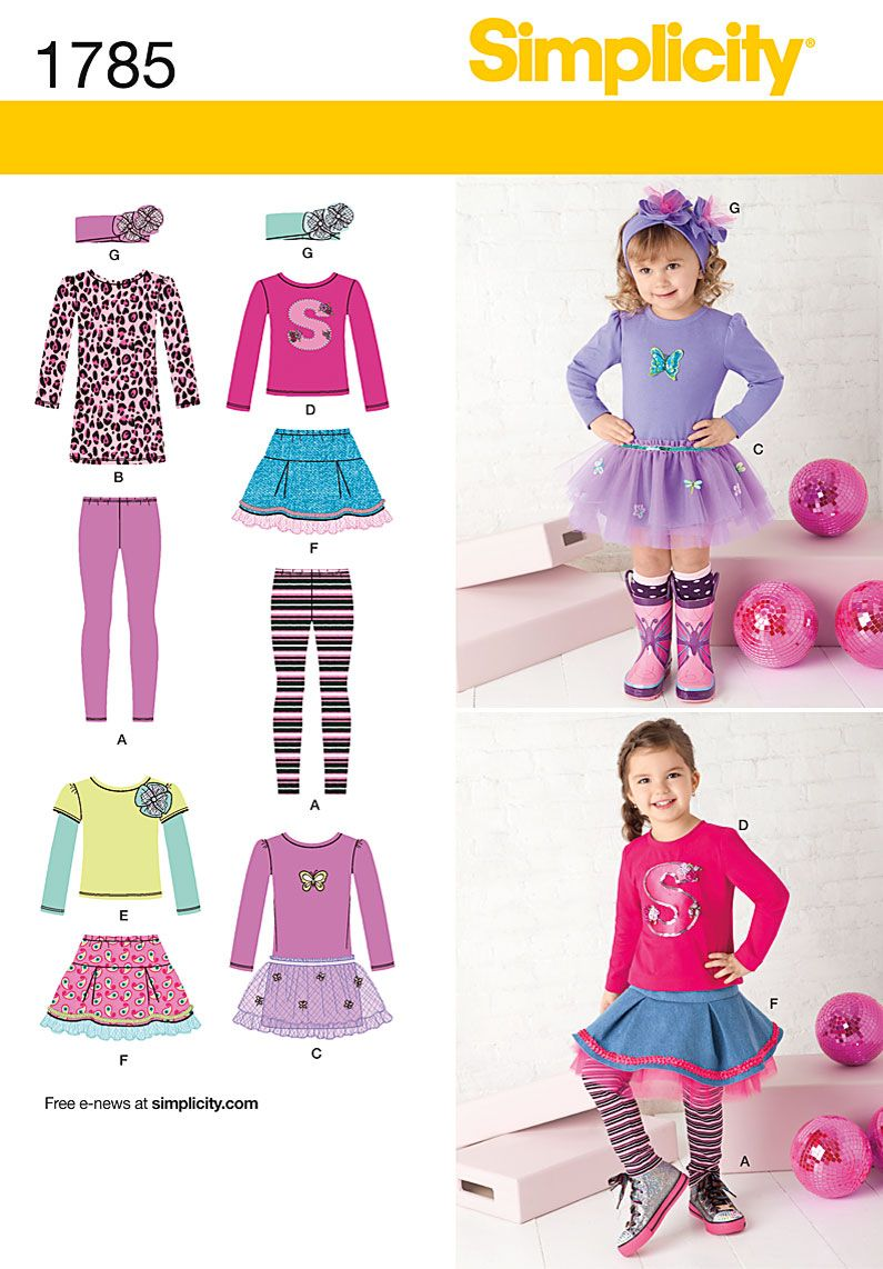 Simplicity toddler and child skirt dress t shirt leggings 1785 sewing ideas jeuxipadfo Gallery