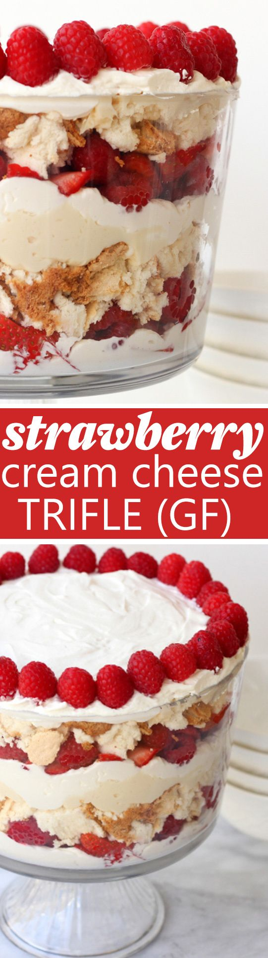 Strawberry Cream Cheese Trifle (Gluten-Free!) Layers of gluten-free angel food cake with fresh berries, whipped cream and cream cheese. Everyone always asks for this recipe! Dessert Recipes Easy, Dessert Recipes Healthy, Dessert Recipes For A Crowd, Dessert Recipes Cake, Cake Recipes Easy, Cake Recipes Healthy, Cake Recipes Strawberry, Cake Recipes Layer, #cake #glutenfree #healthycake #trifle #strawberry