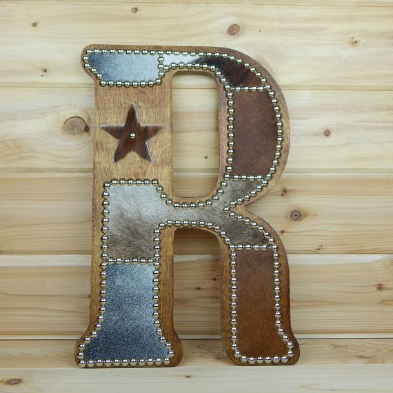 Cowhide Wall Letter R - Western Home Decor, Wall Hanging, Cowboy