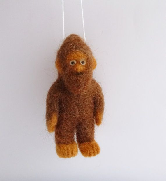 needle felted Bigfoot or Sasquatch ornament - Christmas ornament ...