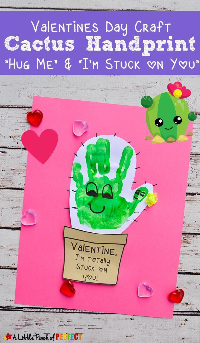 """Kaktus Handabdruck Valentinstag Handwerk und kostenlose Vorlage """"Umarme mich und klebe a..."""