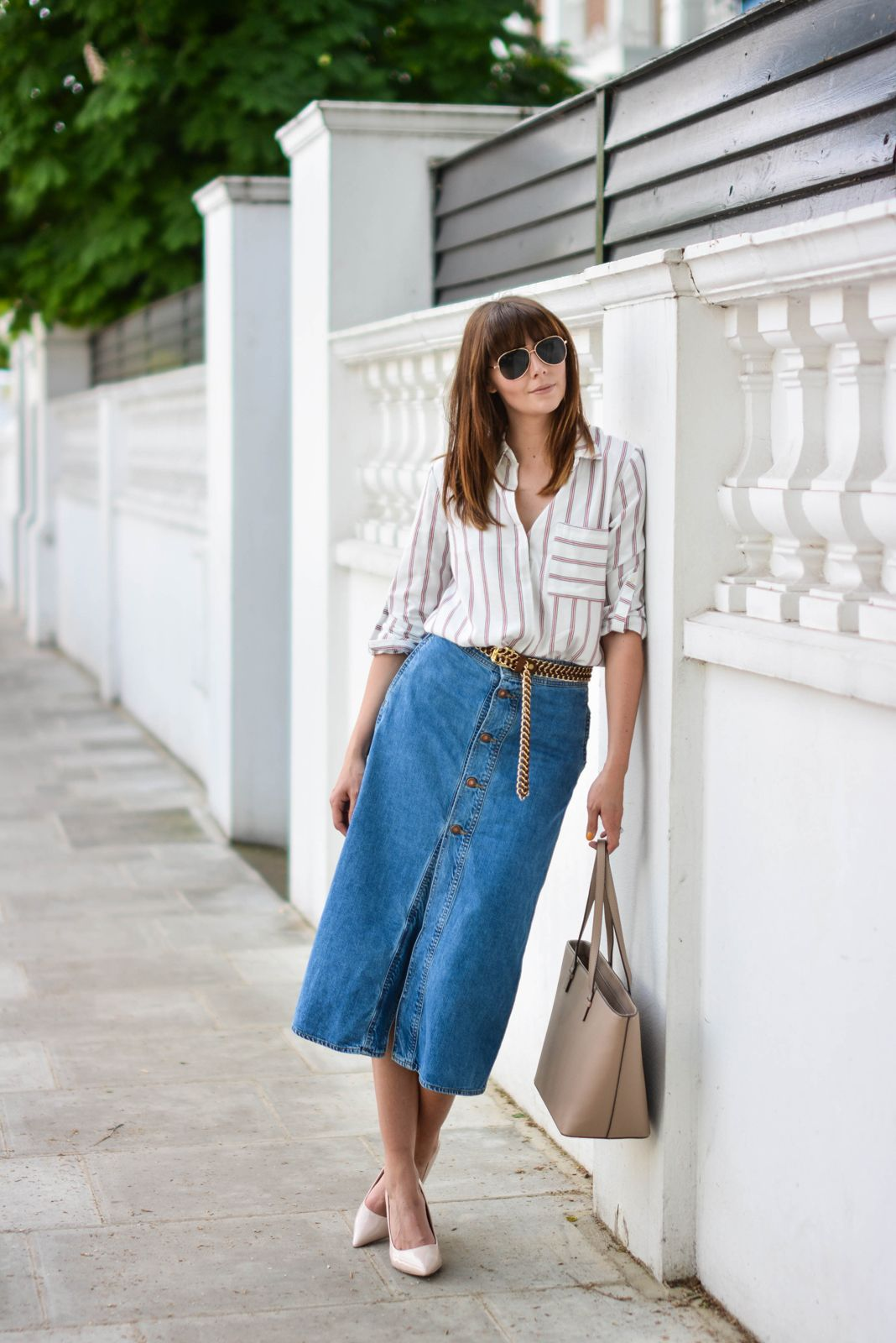 EJSTYLE - Emma Hill wears Zara denim a line button midi skirt ...