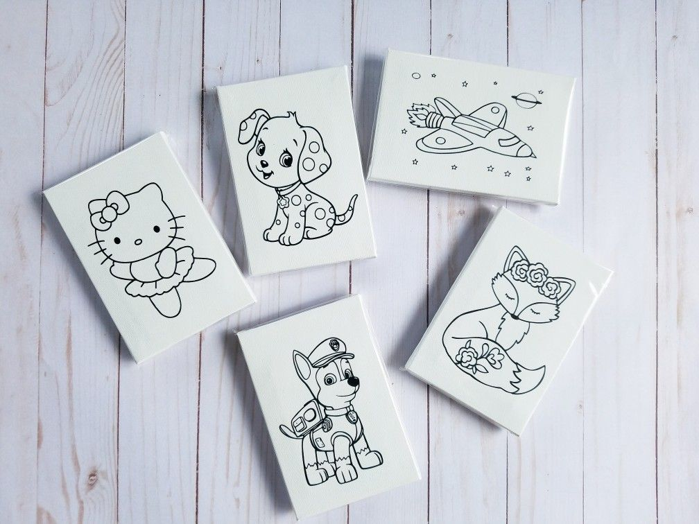 Coloring Canvases Pick Your Favorite Coloring Page Comes With Crayons 5 Coloring Canvas Coloring Pages Gifts