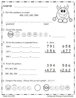 Smiling And Shining In Second Grade Monster Math Freebie 2nd Grade Math Math Spiral Review Math Freebie