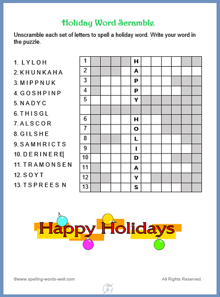 New Holiday Word Scramble Holiday Words Word Puzzles Christmas Words