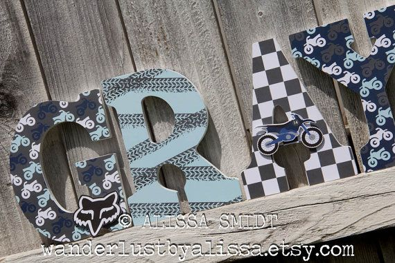 Dirtbike Letters Baby Nursery Custom Nursery Wooden