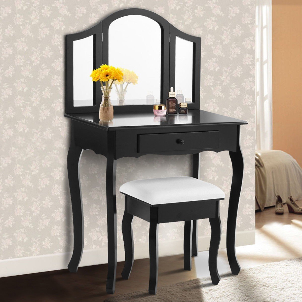 Black / White Vanity Makeup Dressing Table with Tri