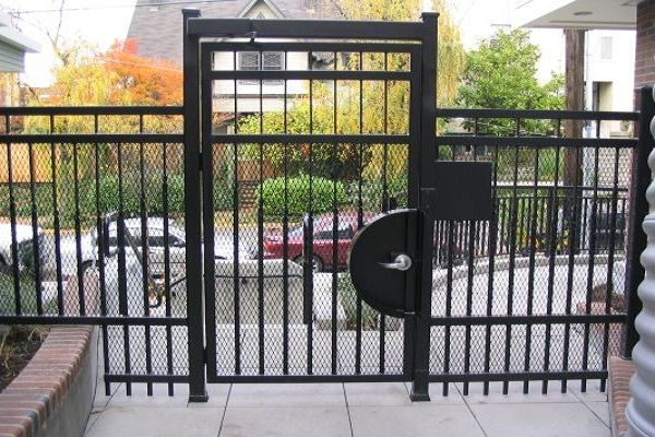 Security Pedestrain Gate With A Keypad Gates Apartment