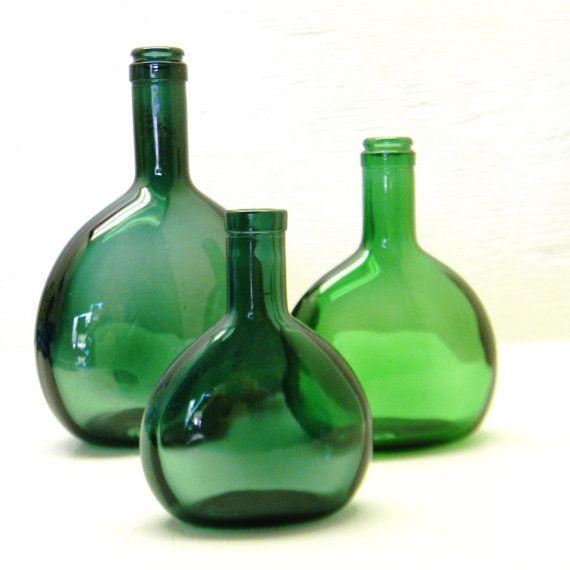 Antique Green Glass Bottles Or Flasks