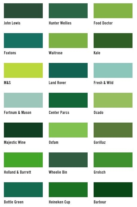 I Know This Has A Ton Of Different Shades Of Green But This Kind Of Gives You An Idea Of Our Color Green Color Names Different Shades Of Green Green Interiors