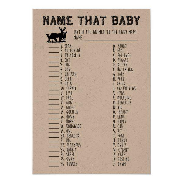Name That Baby Shower Game, Baby Animals Matching Invitation | Zazzle.com