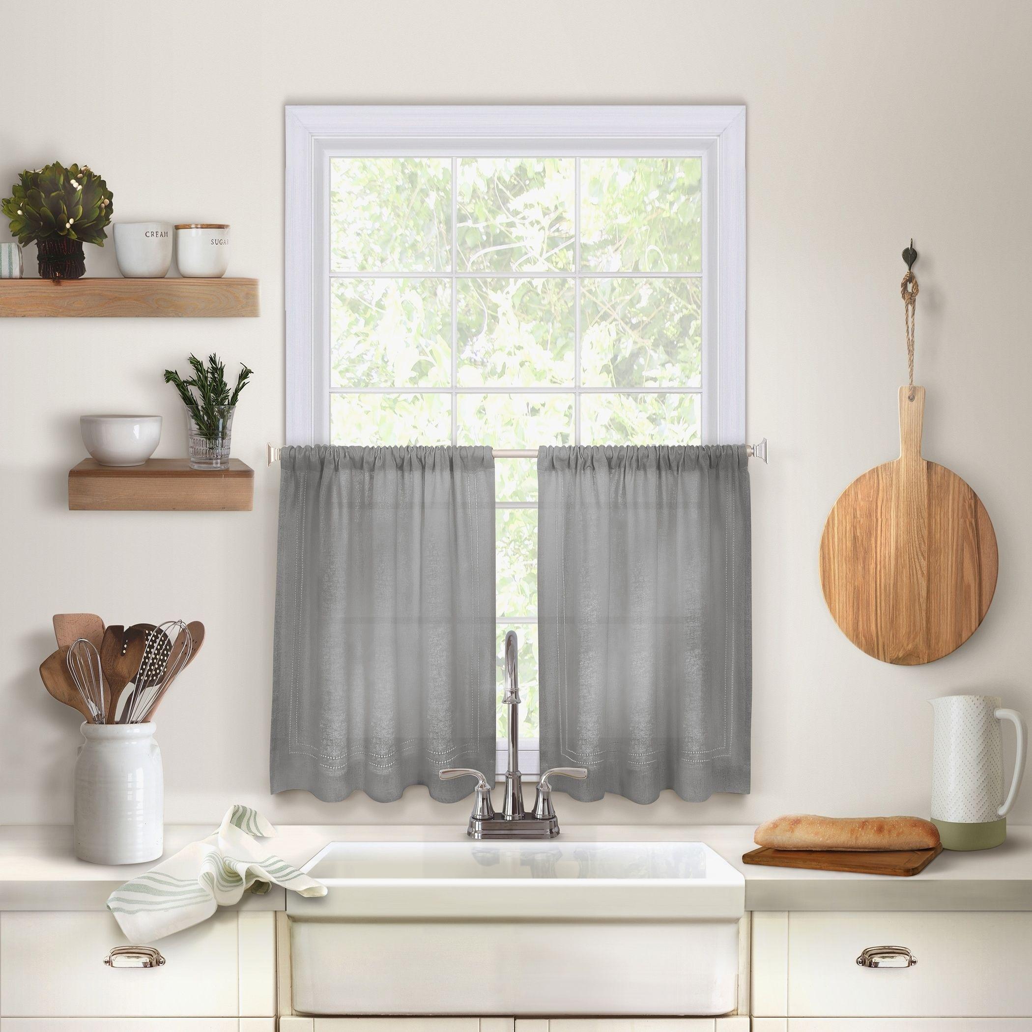Two window kitchen design  elrene cameron rod pocket kitchen tiers set of two
