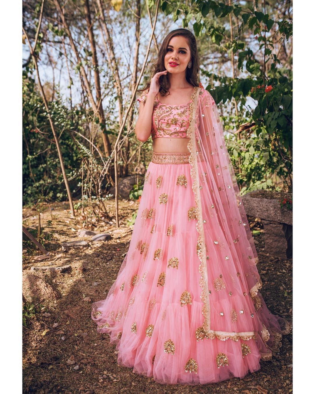 Pink dress design 2018  Stunning blush pink color designer lehenga and blouse with net