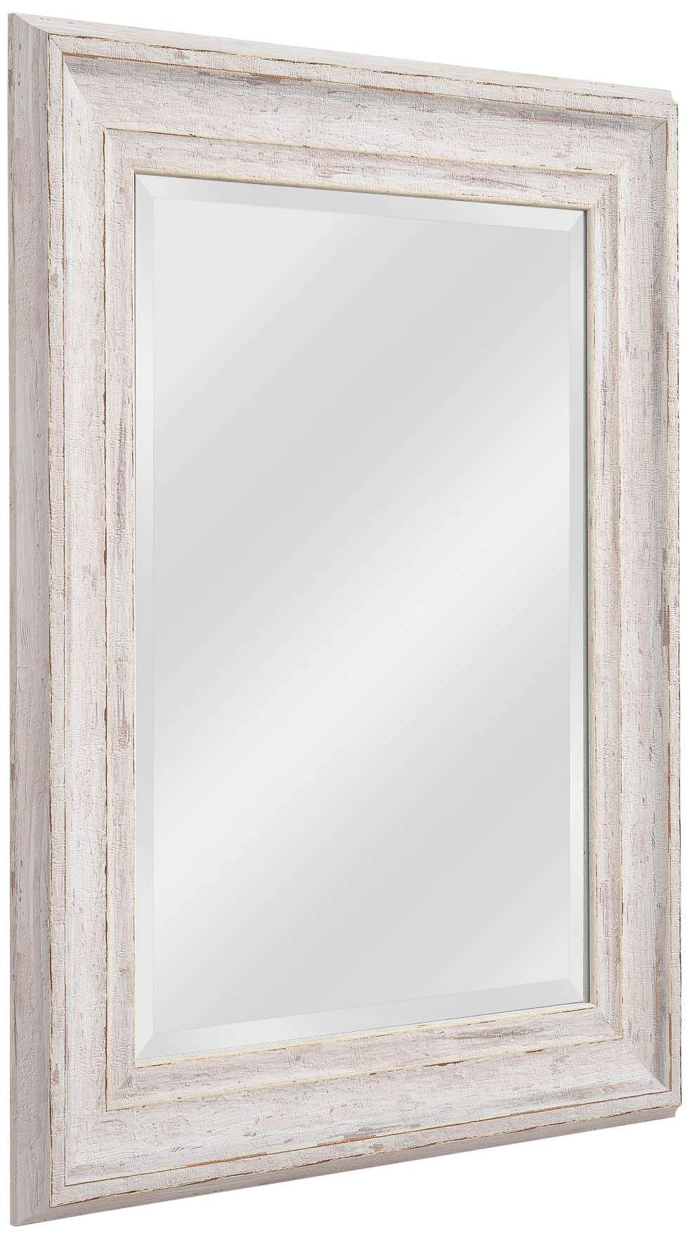 Warren Distressed White Wood 25 And One Quarter Inch X 31 And One Quarter Inch Wall Mirror In 2020 Mirror Wall White Wood Mirror