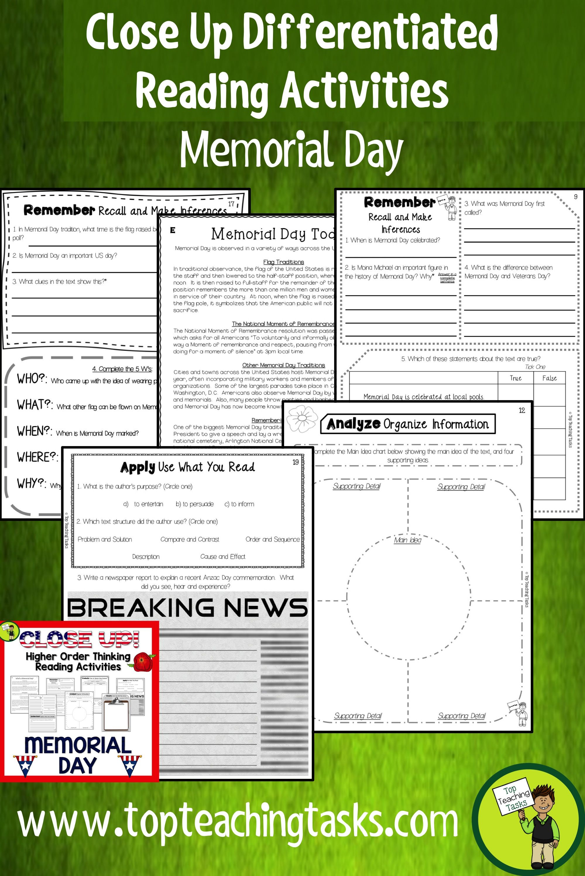 Memorial Day Reading Comprehension Passages And Questions