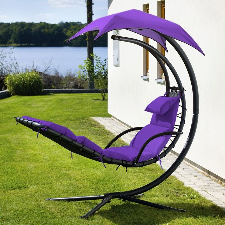 Curvy Purple Lawn Chair With Umbrella