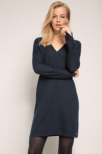 51309e99082792 edc - Gebreide jurk met V-hals kopen in de online shop