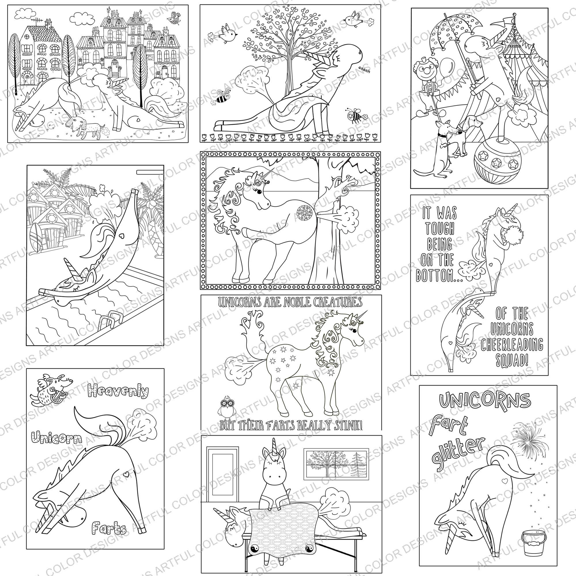 Coloring book download zip - Printable Coloring Book Unicorns Farting Fun And Unique Digital Download Book With 20 Images Hilarious Pictures To Color In For All Ages