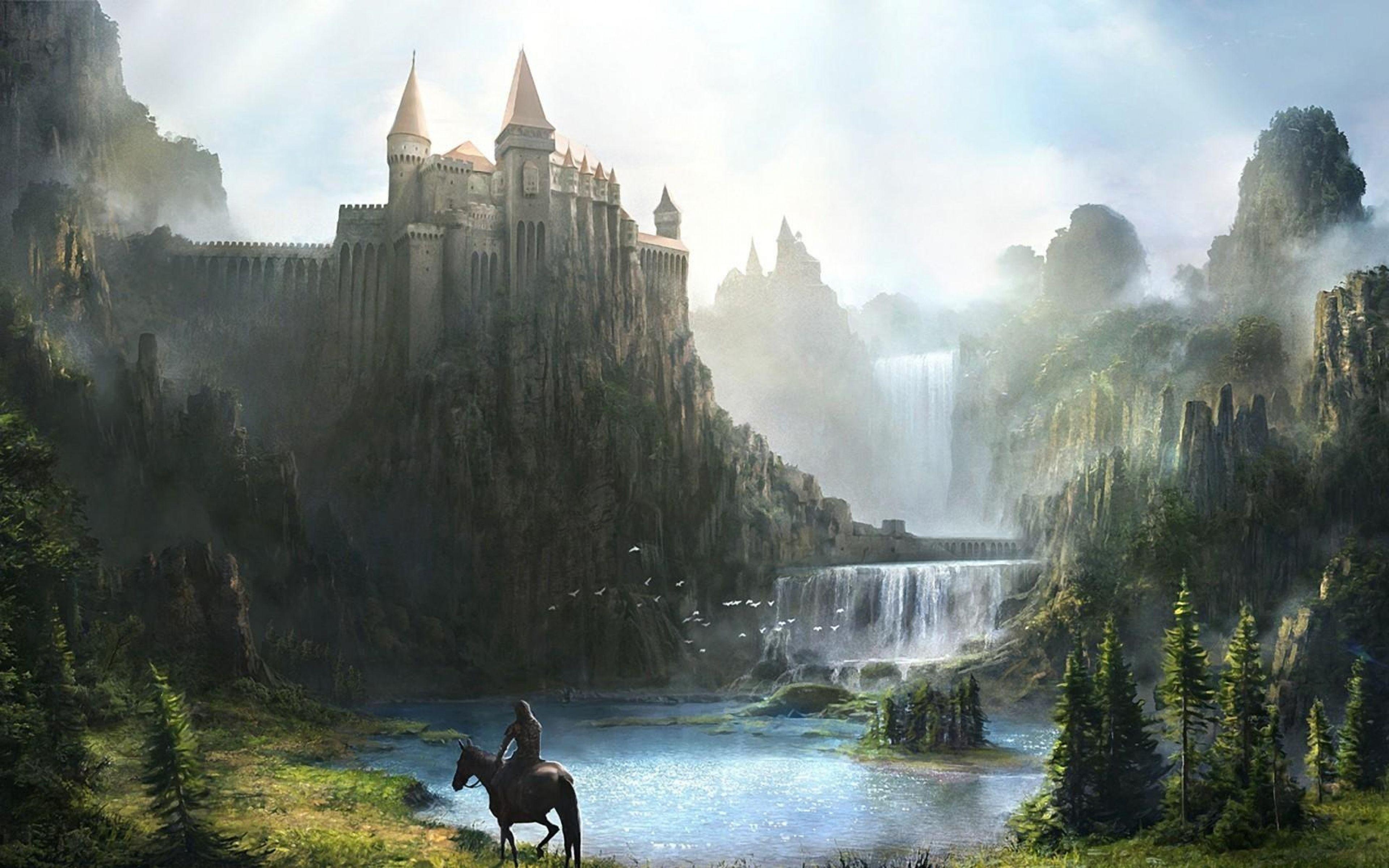 3840x2400 Wallpaper castle, waterfall, mountains, green, horseman