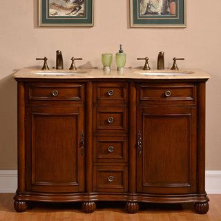 Silkroad exclusive 52 inch travertine stone top bathroom - 52 inch bathroom vanity double sink ...
