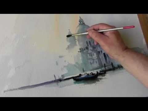 Painting In Watercolour Of The Santa Maria Della Salute In Venice