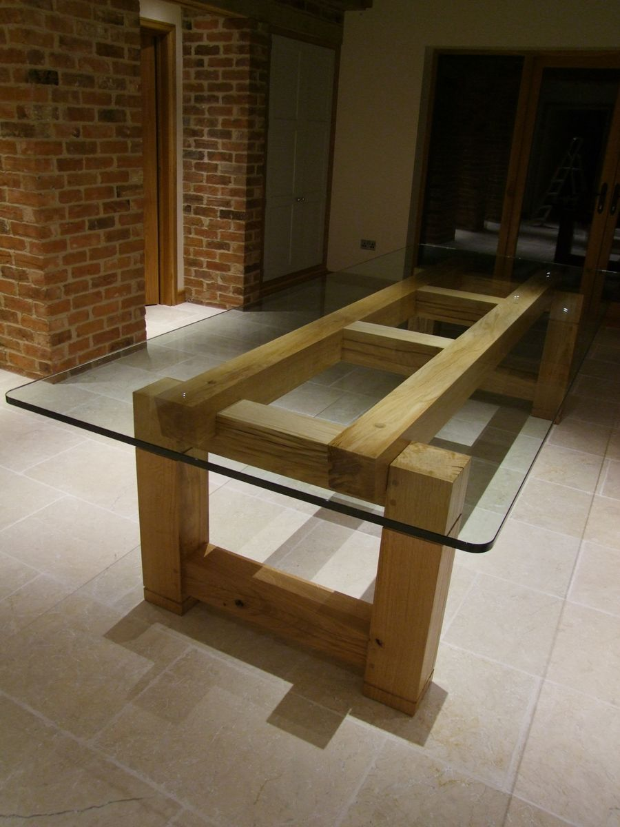 Bespoke Table With Glass Top Handmade Oak Dining Tables By Makers Wood Table Design Glass Top Dining Table Wood Table Diy [ 1200 x 900 Pixel ]