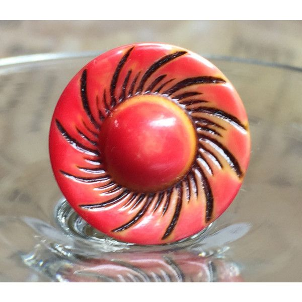 Colorful Carved Button Ring (265 MXN) ❤ liked on Polyvore featuring jewelry and rings