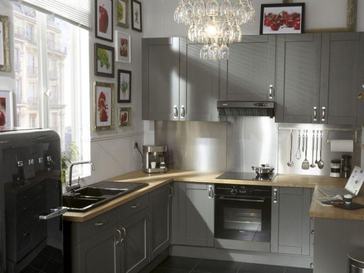 Nice Idée Relooking Cuisine Cuisine Grise Mobilier Déco - Idee deco cuisine grise