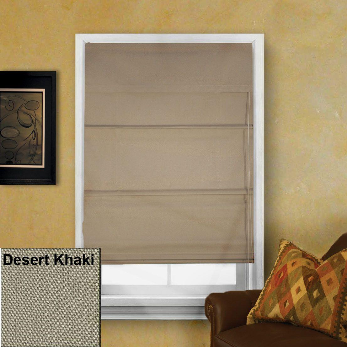 Thermal Lined Roman Shade - Desert Khaki - Window Blind Outlet