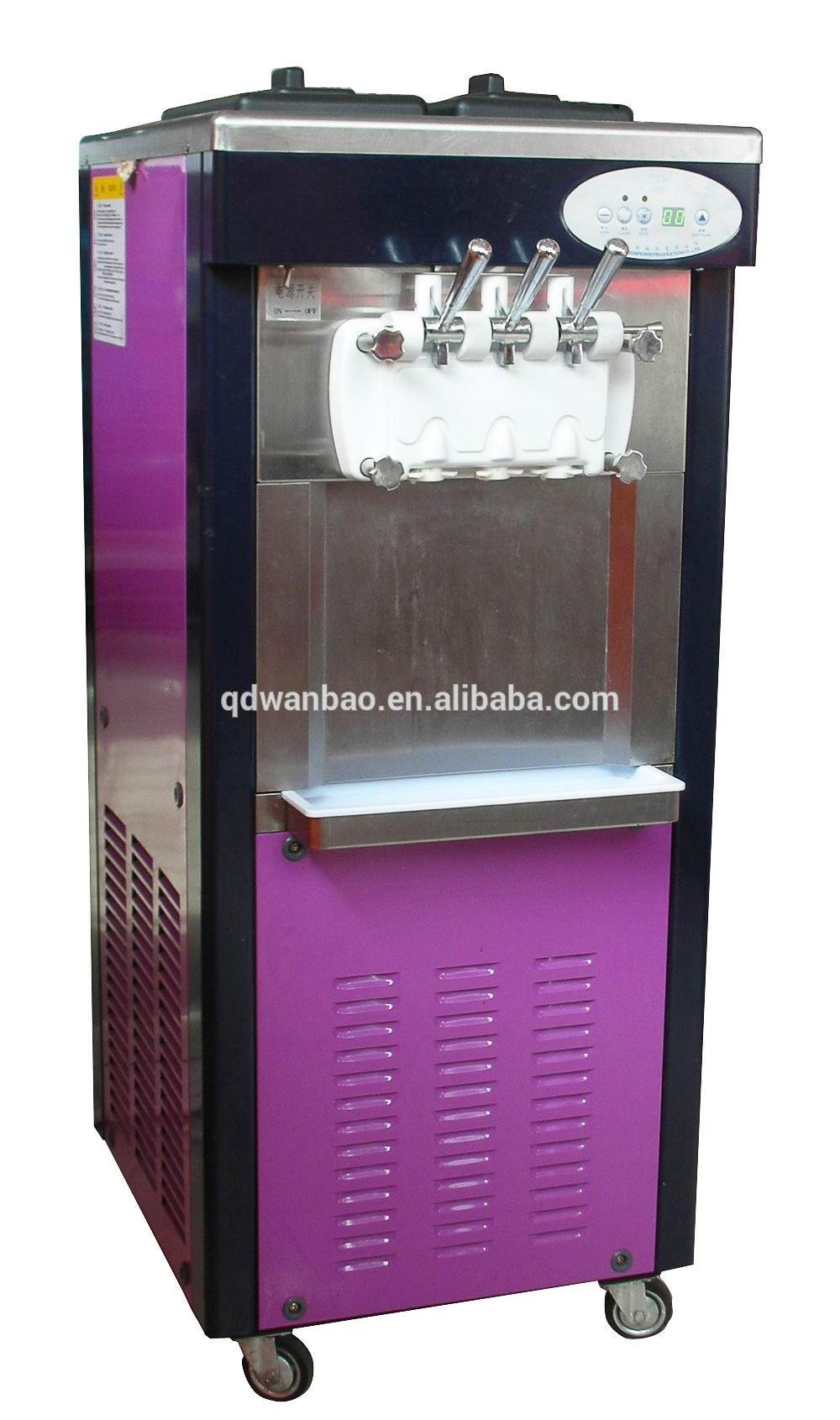 Floor-model three flavors commercial frozen yogurt machine ...