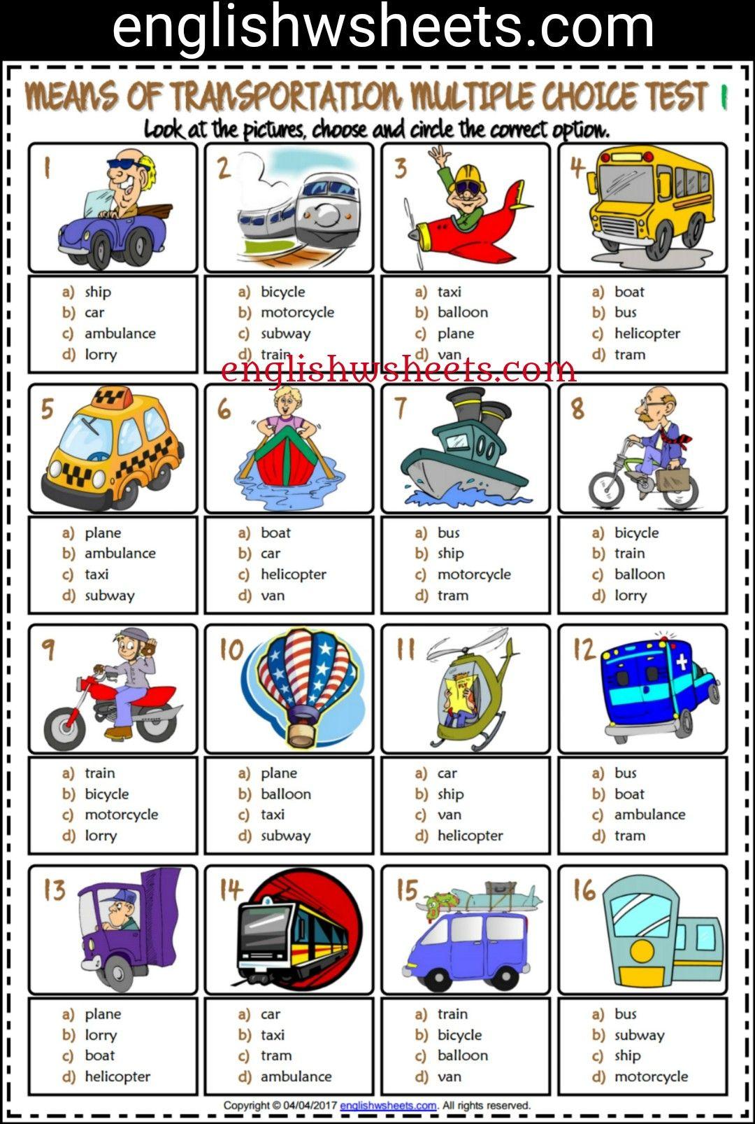 Means of Transportation Esl Printable Multiple Choice Tests For Kids ...