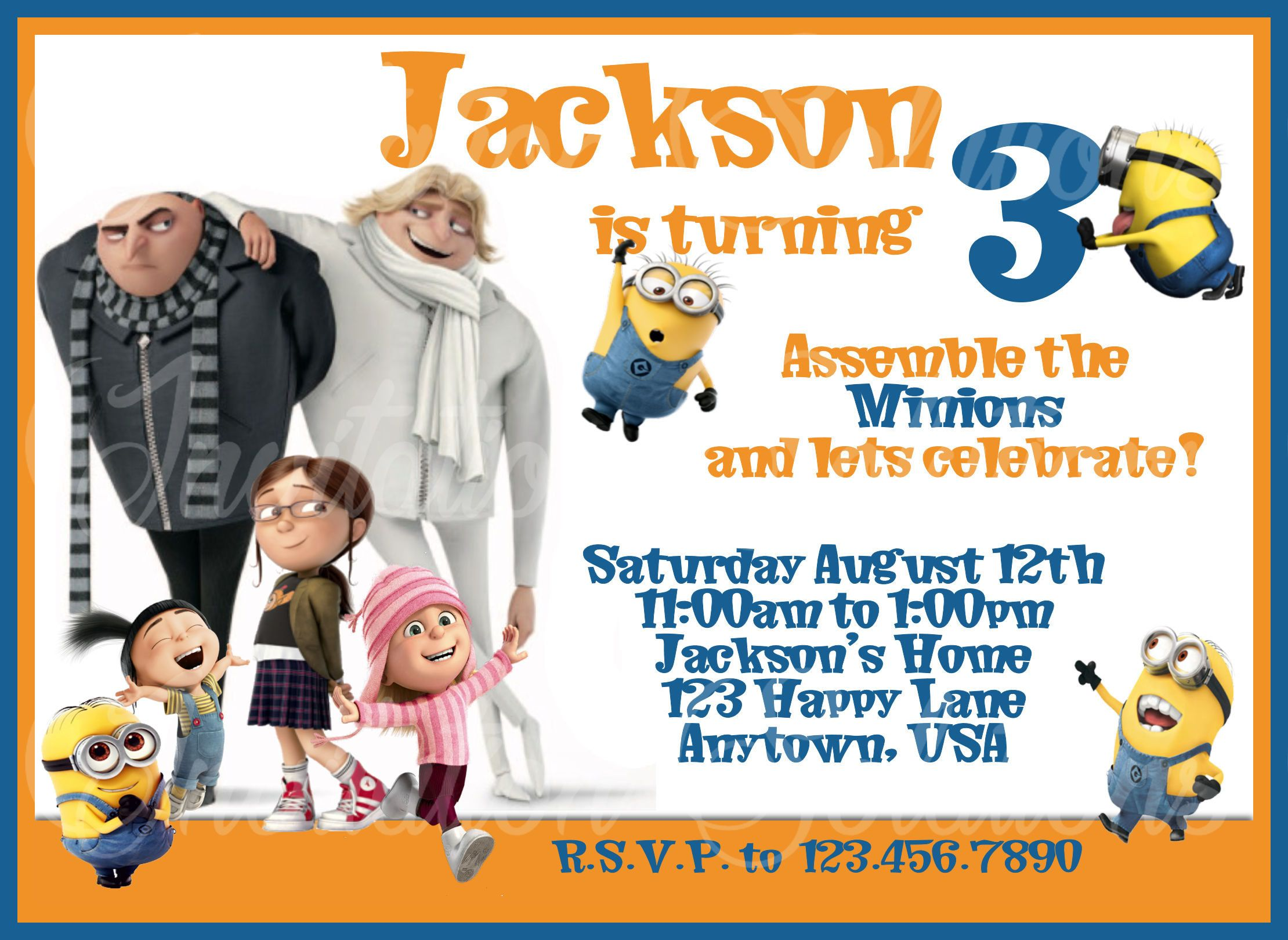 Dispicable Me 3 Birthday party invitation with Minions/ Childs Movie ...