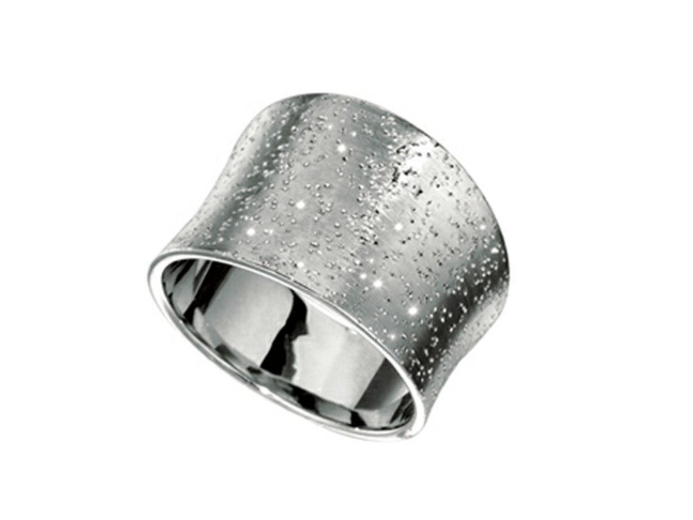 Rhodium Plated Textured Stardust Bright Cut Ring