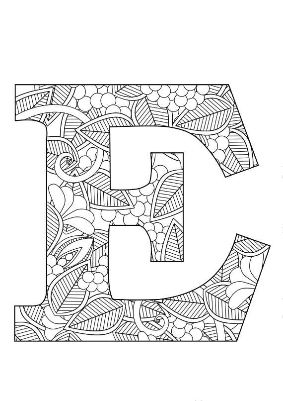 Letter E Floral With Images Lettering Coloring Pages Letter