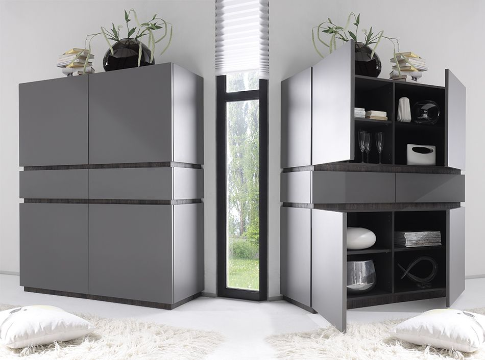 Buffet gris et jaune 2 portes 2 tiroirs contemporain Buffet - meuble a chaussures grande capacite