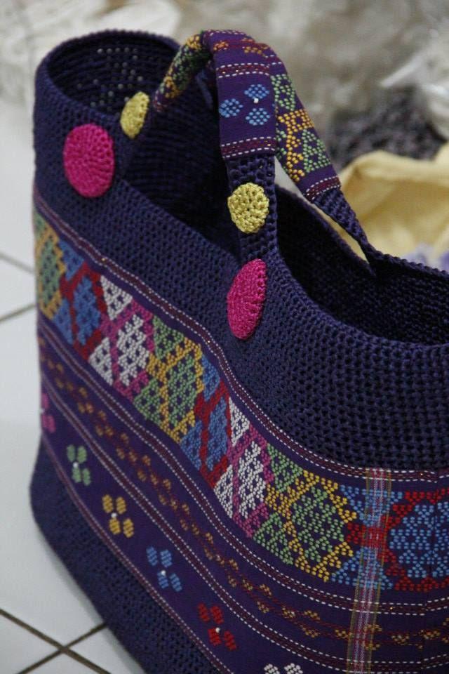crochet bag with Ulos (Traditional cloth of Batak tribe - North Sumatra - Indonesia)