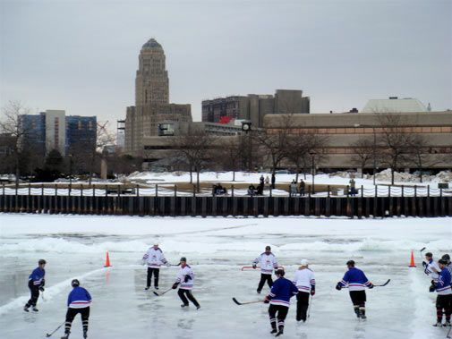 Annual Labbatt Blue Pond Hockey Tournament On Lake Erie Buffalo
